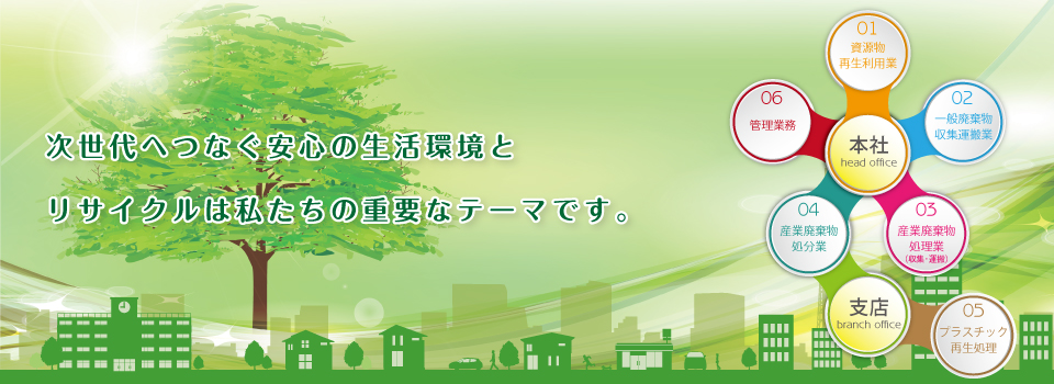 千葉県流山市を拠点として一般廃棄物・産業廃棄物の収集・資源リサイクルを行っています。